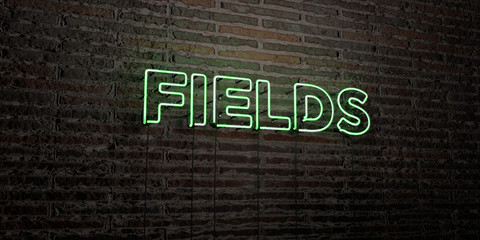 FIELDS -Realistic Neon Sign on Brick Wall background - 3D rendered royalty free stock image. Can be used for online banner ads and direct mailers..