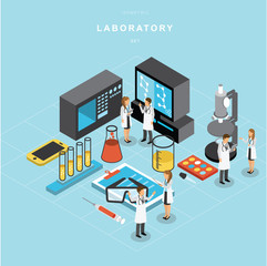 Isometric laboratory vector design set A
