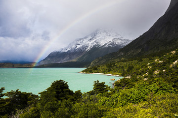 Rainbow at Nordenskjold Lake, Torres del Paine National Park, Patagonia, Chile, South America