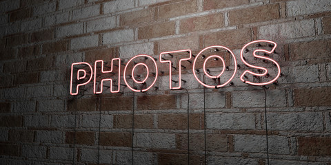 PHOTOS - Glowing Neon Sign on stonework wall - 3D rendered royalty free stock illustration.  Can be used for online banner ads and direct mailers..