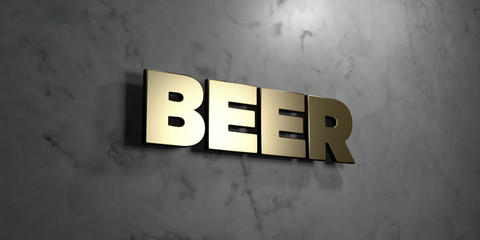 Beer - Gold sign mounted on glossy marble wall  - 3D rendered royalty free stock illustration. This image can be used for an online website banner ad or a print postcard.