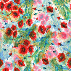 Watercolor, vintage seamless background with floral pattern. Abstract red flowers,rose poppy, wildflowers,  bud, leaf and seeds in a nice and trendy pattern.