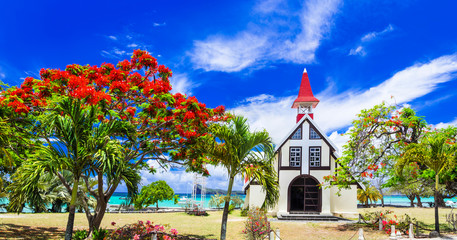 Scenery of beautiful Mauritius island - Red church on the beach,Cap malheureux