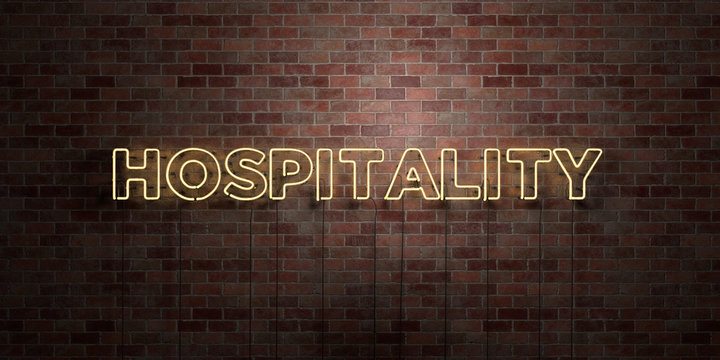 HOSPITALITY - fluorescent Neon tube Sign on brickwork - Front view - 3D rendered royalty free stock picture. Can be used for online banner ads and direct mailers..