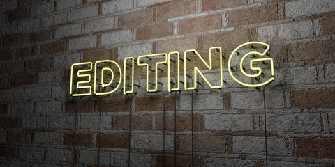 EDITING - Glowing Neon Sign on stonework wall - 3D rendered royalty free stock illustration.  Can be used for online banner ads and direct mailers..