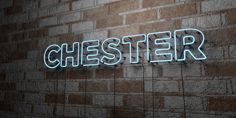 CHESTER - Glowing Neon Sign on stonework wall - 3D rendered royalty free stock illustration.  Can be used for online banner ads and direct mailers.. Fotomurales