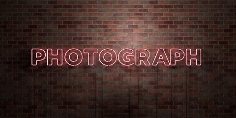 PHOTOGRAPH - fluorescent Neon tube Sign on brickwork - Front view - 3D rendered royalty free stock picture. Can be used for online banner ads and direct mailers..