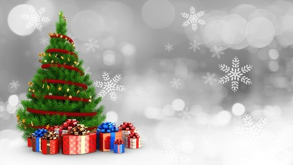 3d illustration of green Christmas tree over snow background with present boxes and
