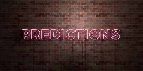 PREDICTIONS - fluorescent Neon tube Sign on brickwork - Front view - 3D rendered royalty free stock picture. Can be used for online banner ads and direct mailers..