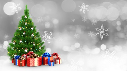 3d illustration of lights and chrome balls decorated xmas tree over snow background with present boxes and