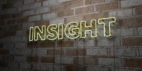 INSIGHT - Glowing Neon Sign on stonework wall - 3D rendered royalty free stock illustration.  Can be used for online banner ads and direct mailers..