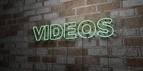 VIDEOS - Glowing Neon Sign on stonework wall - 3D rendered royalty free stock illustration.  Can be used for online banner ads and direct mailers..