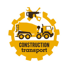 Logo concrete mixers, construction vehicles. Special equipment, truck. The tool for the job. Drill, wrench, screwdriver, gear. Vector illustration. Flat style