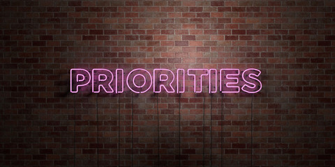 PRIORITIES - fluorescent Neon tube Sign on brickwork - Front view - 3D rendered royalty free stock picture. Can be used for online banner ads and direct mailers..