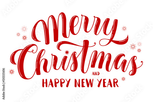 merry christmas and happy new year text lettering for greeting cards banners posters