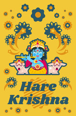 Creative poster illustration on Hare Krishna. Lord Krishna sitting in the lotus position, in jewelry, plays the flute in goats environment. Music, deity, animals. Fireworks, Flowers.. Flat style