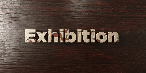 Exhibition - grungy wooden headline on Maple  - 3D rendered royalty free stock image. This image can be used for an online website banner ad or a print postcard.