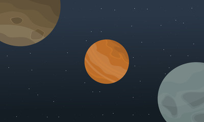 Illustration vector outer space landscape