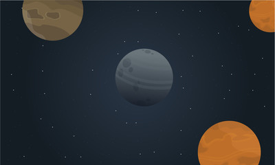 Cartoon outer space landscape vector