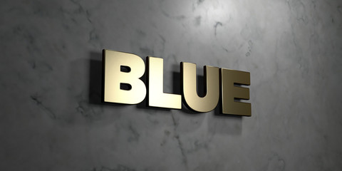 Blue - Gold sign mounted on glossy marble wall  - 3D rendered royalty free stock illustration. This image can be used for an online website banner ad or a print postcard.