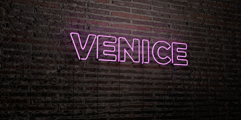 VENICE -Realistic Neon Sign on Brick Wall background - 3D rendered royalty free stock image. Can be used for online banner ads and direct mailers..