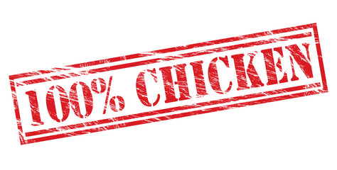 100% chicken red stamp on white background