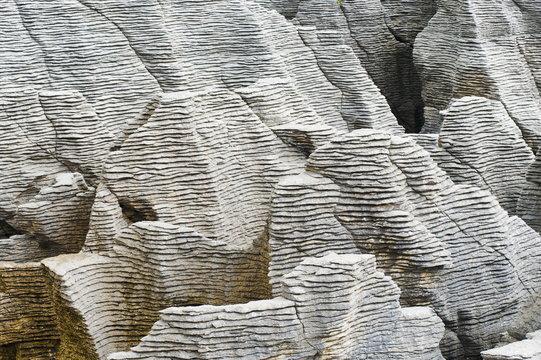 Rock patterns at Pancake Rocks, Punakaiki, West Coast, South Island, New Zealand