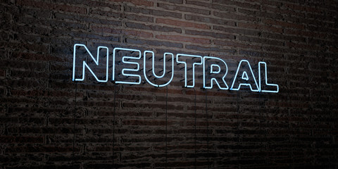 NEUTRAL -Realistic Neon Sign on Brick Wall background - 3D rendered royalty free stock image. Can be used for online banner ads and direct mailers..