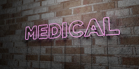 MEDICAL - Glowing Neon Sign on stonework wall - 3D rendered royalty free stock illustration.  Can be used for online banner ads and direct mailers..