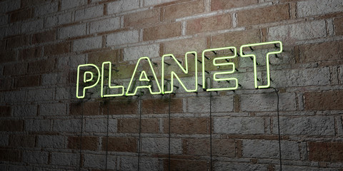 PLANET - Glowing Neon Sign on stonework wall - 3D rendered royalty free stock illustration.  Can be used for online banner ads and direct mailers..