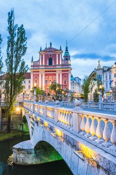 Franciscan Church of the Annunciation and bridge over the Ljubljanica River, Ljubljana, Slovenia
