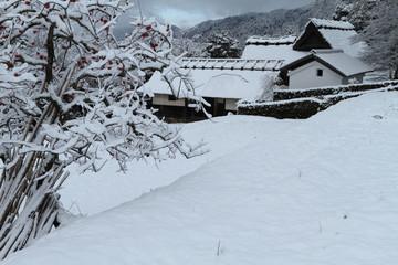 雪の古民家
