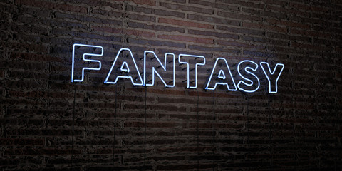 FANTASY -Realistic Neon Sign on Brick Wall background - 3D rendered royalty free stock image. Can be used for online banner ads and direct mailers..
