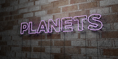 PLANETS - Glowing Neon Sign on stonework wall - 3D rendered royalty free stock illustration.  Can be used for online banner ads and direct mailers..