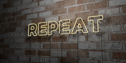 REPEAT - Glowing Neon Sign on stonework wall - 3D rendered royalty free stock illustration.  Can be used for online banner ads and direct mailers..