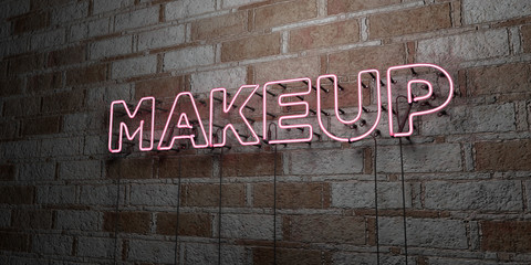 MAKEUP - Glowing Neon Sign on stonework wall - 3D rendered royalty free stock illustration.  Can be used for online banner ads and direct mailers..