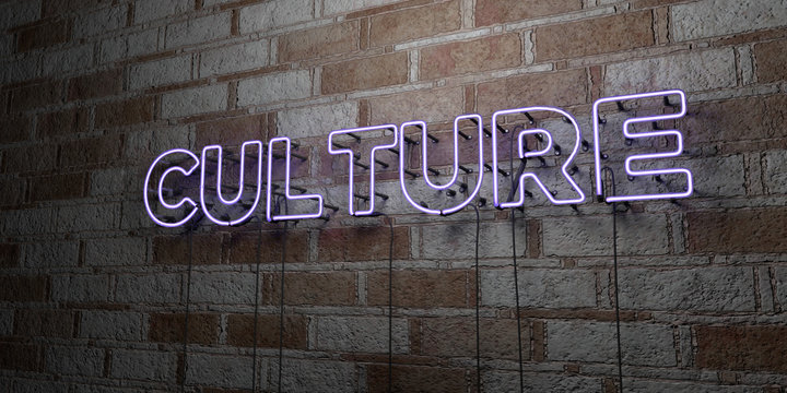 CULTURE - Glowing Neon Sign on stonework wall - 3D rendered royalty free stock illustration.  Can be used for online banner ads and direct mailers..