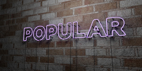 POPULAR - Glowing Neon Sign on stonework wall - 3D rendered royalty free stock illustration.  Can be used for online banner ads and direct mailers..