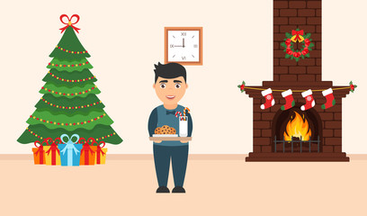 Festive design of the room. Brick fireplace, Christmas wreath, milk and cookies for cute Santa, festive decorated tree,gifts and boy. Merry Christmas and Happy New year. Vector in flat style.