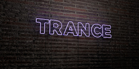 TRANCE -Realistic Neon Sign on Brick Wall background - 3D rendered royalty free stock image. Can be used for online banner ads and direct mailers..