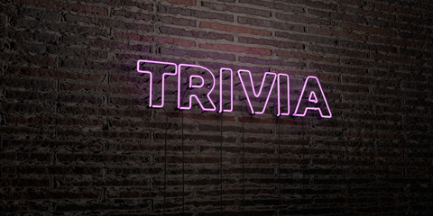 TRIVIA -Realistic Neon Sign on Brick Wall background - 3D rendered royalty free stock image. Can be used for online banner ads and direct mailers..