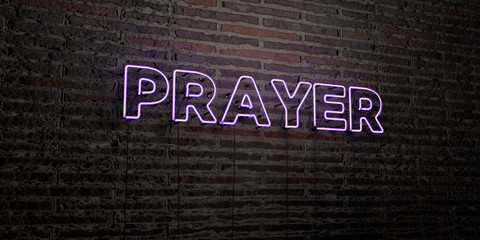 PRAYER -Realistic Neon Sign on Brick Wall background - 3D rendered royalty free stock image. Can be used for online banner ads and direct mailers..