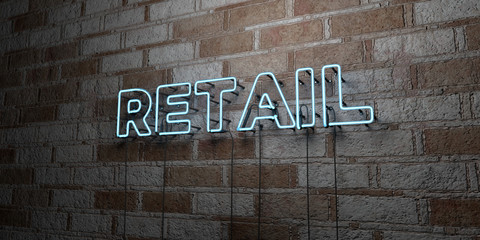 RETAIL - Glowing Neon Sign on stonework wall - 3D rendered royalty free stock illustration.  Can be used for online banner ads and direct mailers..