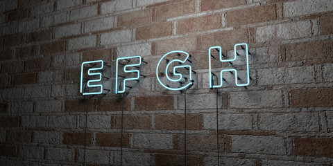 E F G H - Glowing Neon Sign on stonework wall - 3D rendered royalty free stock illustration.  Can be used for online banner ads and direct mailers..