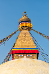 Boudhanath Stupa with prayer flags, Kathmandu, Nepal