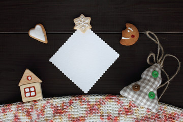winter fairytale story/ flat layout of festive objects view from above