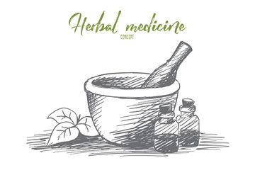 Vector hand drawn natural medicine sketch with vials, jar, pounder and herb leaves