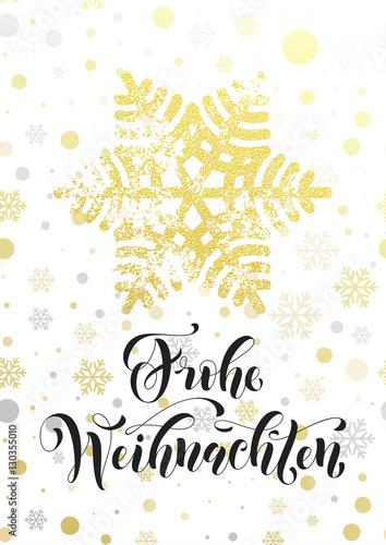 Merry Christmas In German.Merry Christmas German Frohe Weihnachten Poster Golden