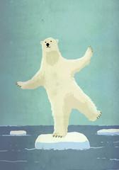 Illustrative image of polar bear balancing on iceberg in sea representing global warming