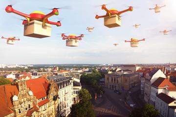 Drohne mit Paket in Stadt
